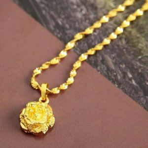 18k Yellow Gold Plated Water Wave Chain Necklace